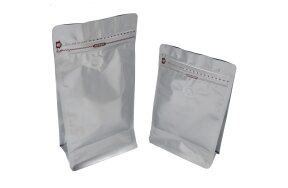SILVER DOY-PACK ALUMINIOUM BAGS WITH VALV
